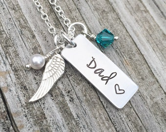 Hand Stamped Remembrance Necklace Memorial Jewelry Loss Of Loved One Sympathy Gift, Loss Of Mom Dad Husband Child Father Grandmother, Simple