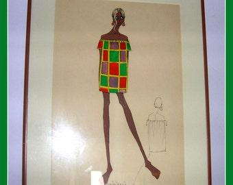 Original 1966 Pop Art Fashion Sketch