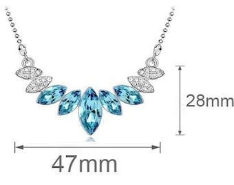 Elegant Water drop sky blue angel neklace