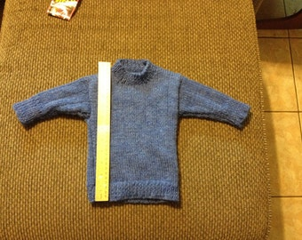 Hand-knitted Baby Sweater-Denim Blue