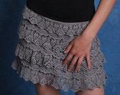 Grey crochet lace skirt