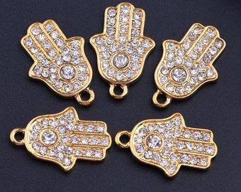 10pcs 20x15mm Silver Rhinestone Evil Eye Hamsa Charm Pendants Hand Charm Pendants SS0005