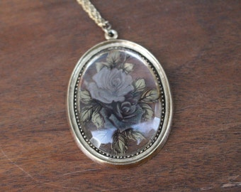Vintage Glass Cameo Flower Pendant Necklace By 1928 Jewellery