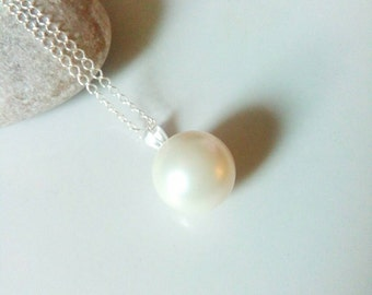 Single Pearl Necklace, 12mm Pearl, Sterling Silver Pearl Necklace, Bridesmaid Gift, Pearl Jewelry, Wedding, June Birthstone, Modern Jewelry