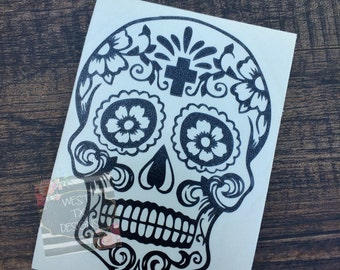 Sugar Skull Decal | Car Window Decal | Vinyl Decal | Dia De Los Muertos | Day of the Dead | Skull Sticker