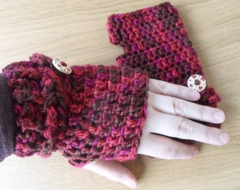 Fingerless Mittens / Fingerless gloves / Red fingerless mittens / Wrist warmers