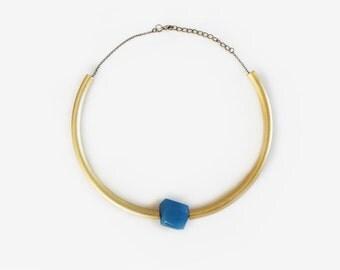 Statement necklace / Choker blue-gold