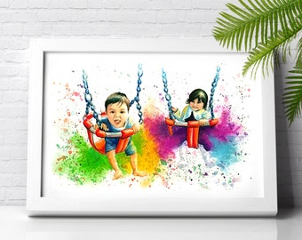 Personalised children couple colourful portrait illustration made with watercolours and pastels