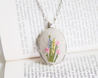 Hand Embroidered Necklace. Floral Necklace. Wildflower Pendant. Jewelry under 50.