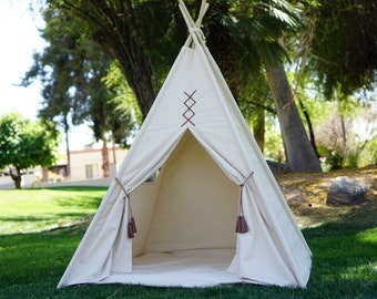 Original teepee, kids Teepee, tipi, Play tent, wigwam or playhouse with canvas and leather tassel Door Ties