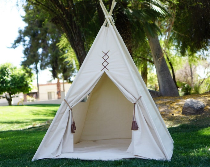 Featured listing image: Teepee, Original teepee, kids Teepee, tipi, Play tent, wigwam or playhouse with canvas and leather tassel Door Ties