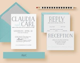 Modern Minimal Simple Wedding Invitation Set, Modern Minimal Simple Wedding Invitations, Typography, Printable & Printed - FREE SHIPPING