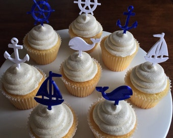 Nautical theme cupcake toppers - pearl blue and white - 3d printed - 8,16, or 24 count
