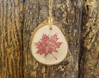 Maple Leaf Ornament - Maple Leaf Stamp Ornament on Maple Log Slice