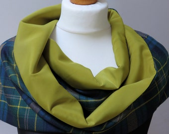 Eildon tartan! A 10 oz pure wool clan tartan scarf with a wow factor - lined in chartreuse peach skin. Hand made in the UK