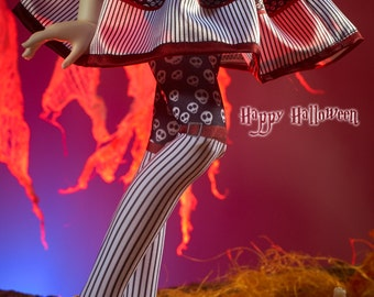 "BJD MiniFee Kid Delf Slim MSD SD printed stockings ""Skulls Party"" from ""Happy Halloween"" series pre-order"