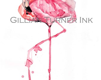 Watercolour Flamingo Painting Print A4