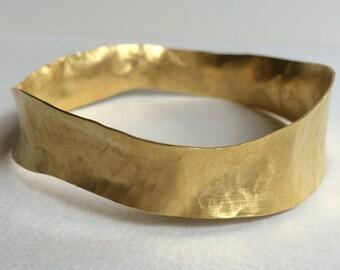 Gold hammered bracelet - Hammered gold cuff bracelet - Gold bangle bracelet - Thin gold cuff - Irregular bangle