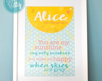Personalised Nursery Print, You are my Sunshine Print, Personalised Christening Gift Print, Personalised New Baby Present, Kid's wall art