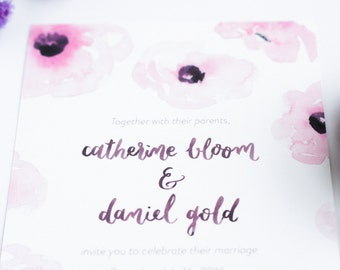 Anemone Pattern Watercolor Wedding Invitation Suite - Handmade, Hand-Lettered - Sample