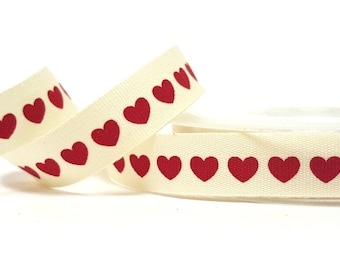 Red Love Heart Print on 15mm Ivory Soft Cotton Ribbon *Sold Per Metre*