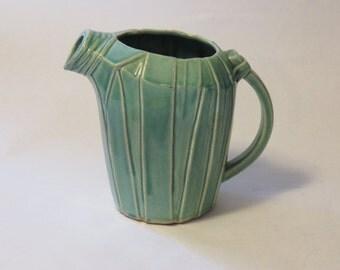 Vintage teal bamboo stalk pitcher - by McCoy