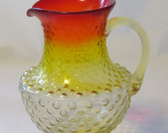 yellow and orange ombre glass pitcher