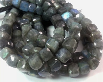 8 mm - 9 mm , 7. 75 inches,  Labradorite Faceted Cubes