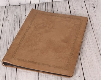 Brown Leather Photo Album 30 pages - Embossed Leather Album  - Big Photo Album - Vintage Photos Cover - Gift for Woman