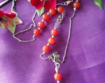 Red Agate Sterling Silver Healing Necklace