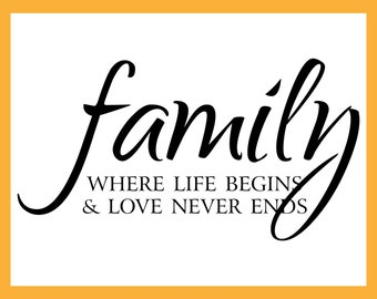 FAMILY Where Life Begins & Love Never Ends, Wall Art, Stickers, Stencil, Inspirational Quote Vinyl Wall Decals