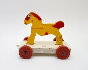 Adorable Vintage Horse Pull Toy, Wood Horse on Wheels, Yellow, Red and White, Vintage Nursery Decor, circa 1950s