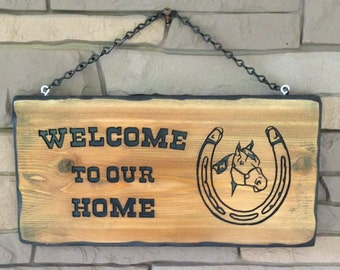 Horseshoe Welcome To Our Home Sign