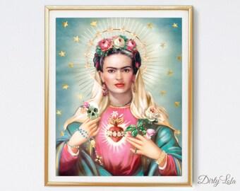 Saint Frida  - Religious - Day of the Dead - Art Print - Illustration - Portrait - Painting- Portrait - Home Decor -