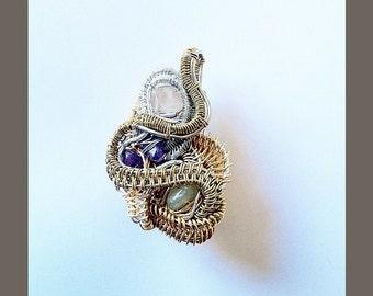 Amethyst- Rose Quartz- Aventurine- Heady Wire Wrap Pendant- Healing Crystals- Jewelry Handmade