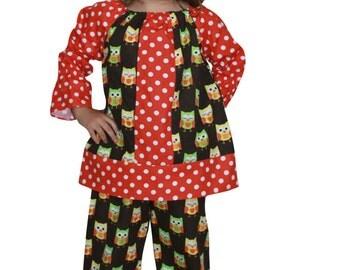 Dana Kids Hallowen Owl Dot Peasant Top & Ruffle Pant Set Girls 12M-10 Years