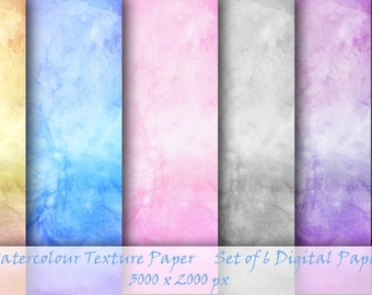 Watercolor Canvas Texture Paper, Set of 6 Digital Papers,  Background texture
