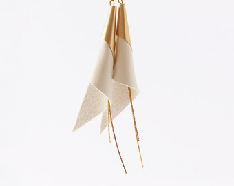 cone genuine leather earrings - gold plated jewelry - white and gold earrings - modern earrings - wedding jewellery- elegant earrings -