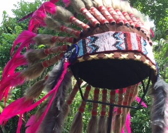 Feather Headdress- Free Shipping-Native American Inspired-Tribal-Warbonnet