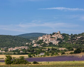Hillside town in Provence, French Lavender field, France Photography, Rural France, Provence Photography, Summer in Provence, Fine Art Print