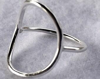 Minimalist Ring, Geometric Ring, Circle Ring, Sterling Silver Ring, Open Circle Ring, Silver Circle Ring, Made To Order