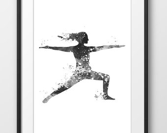 Yoga Print, Yoga Poster, Yoga Watercolor Print, Yoga Wall Art, Yoga Decor, Yoga Painting, Yoga Black and White, Yoga Gift, Yoga Art (A0454)