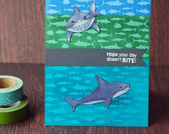 Shark Attack handmade greeting card, birthday, encouragement, humor