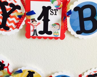 Circus birthday banner (name and age included)