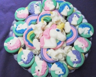 Unicorns and Rainbow chocolates candy tray