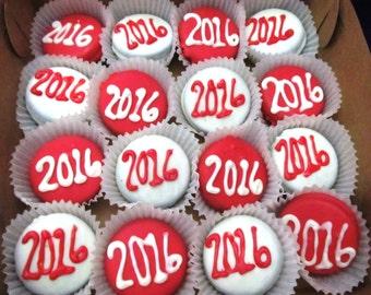 24 Graduation Celebration Party Monogram chocolate dipped cookies