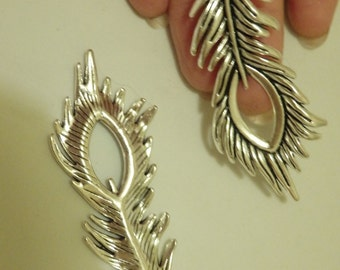 4 large feather charms pendants antique Tibetan silver jewellery making 70mm UK