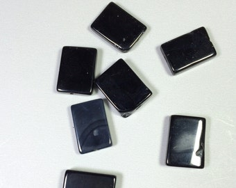 Black Obsidian rectangle beads  19 x 14 mm (9 beads)