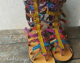 Gladiator slippers / African print / ankara shoes