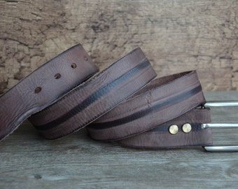 Mens Belt , Leather Belt , Top Gain , Durable Cowhide Belt , Brown
